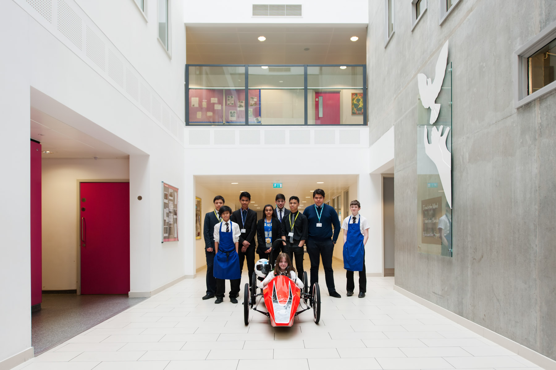 Team of students at Chelsea Academy with school racing car