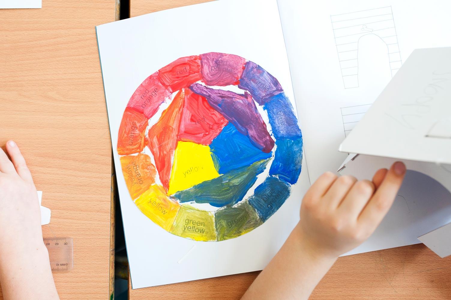 London school website photography of pupils using colour wheel
