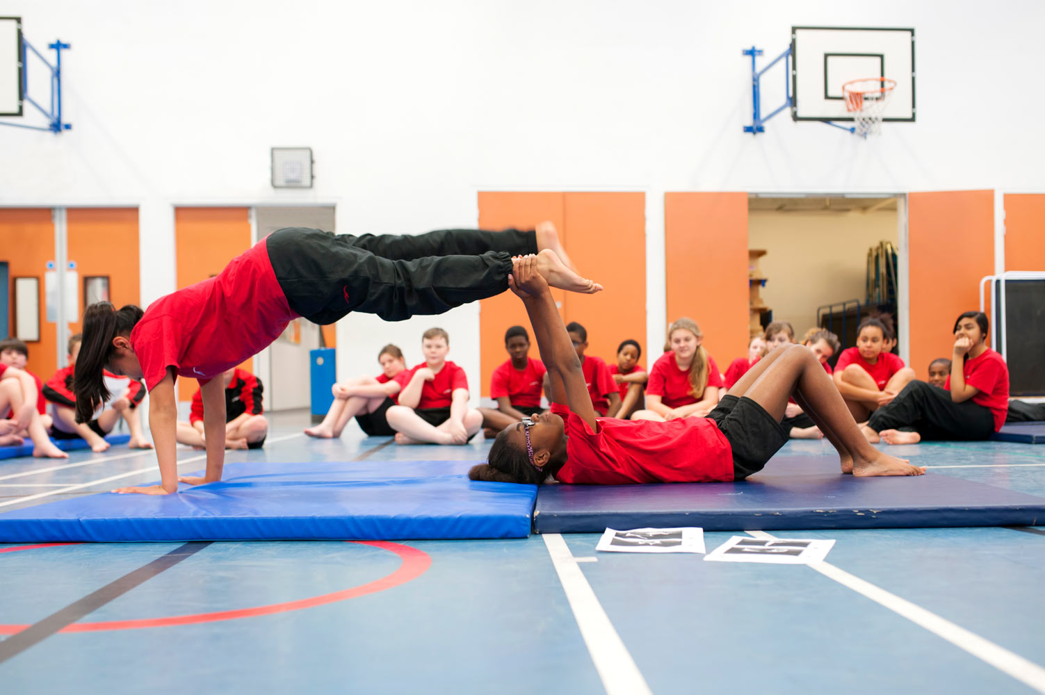 Secondary gymnastics lesson