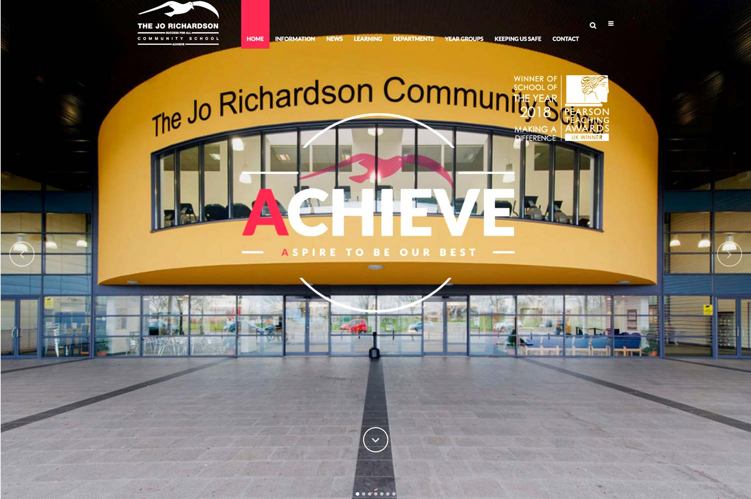 Screen shot of award winning school photography on Jo Richardson Community School homepage