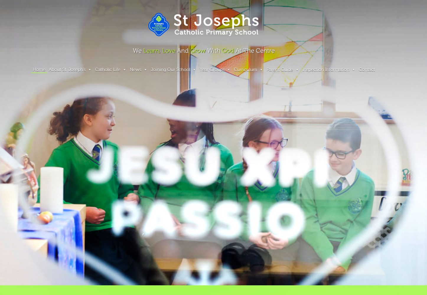 St Josephs primary school website screen image