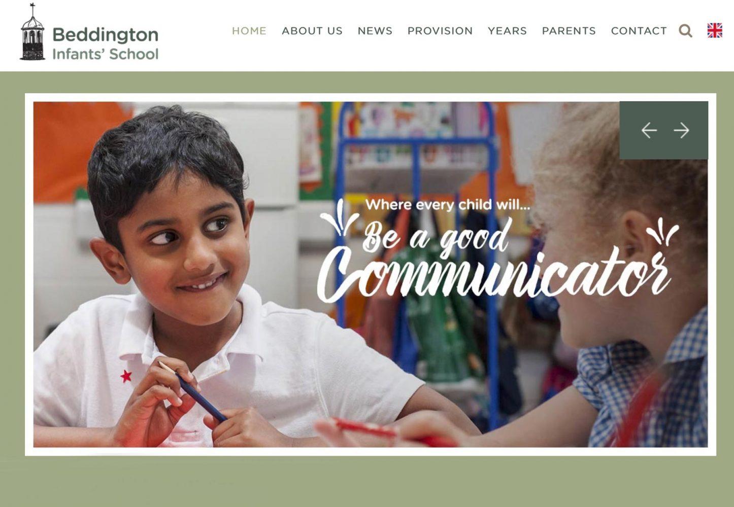 Screenshot of school website homepage photography