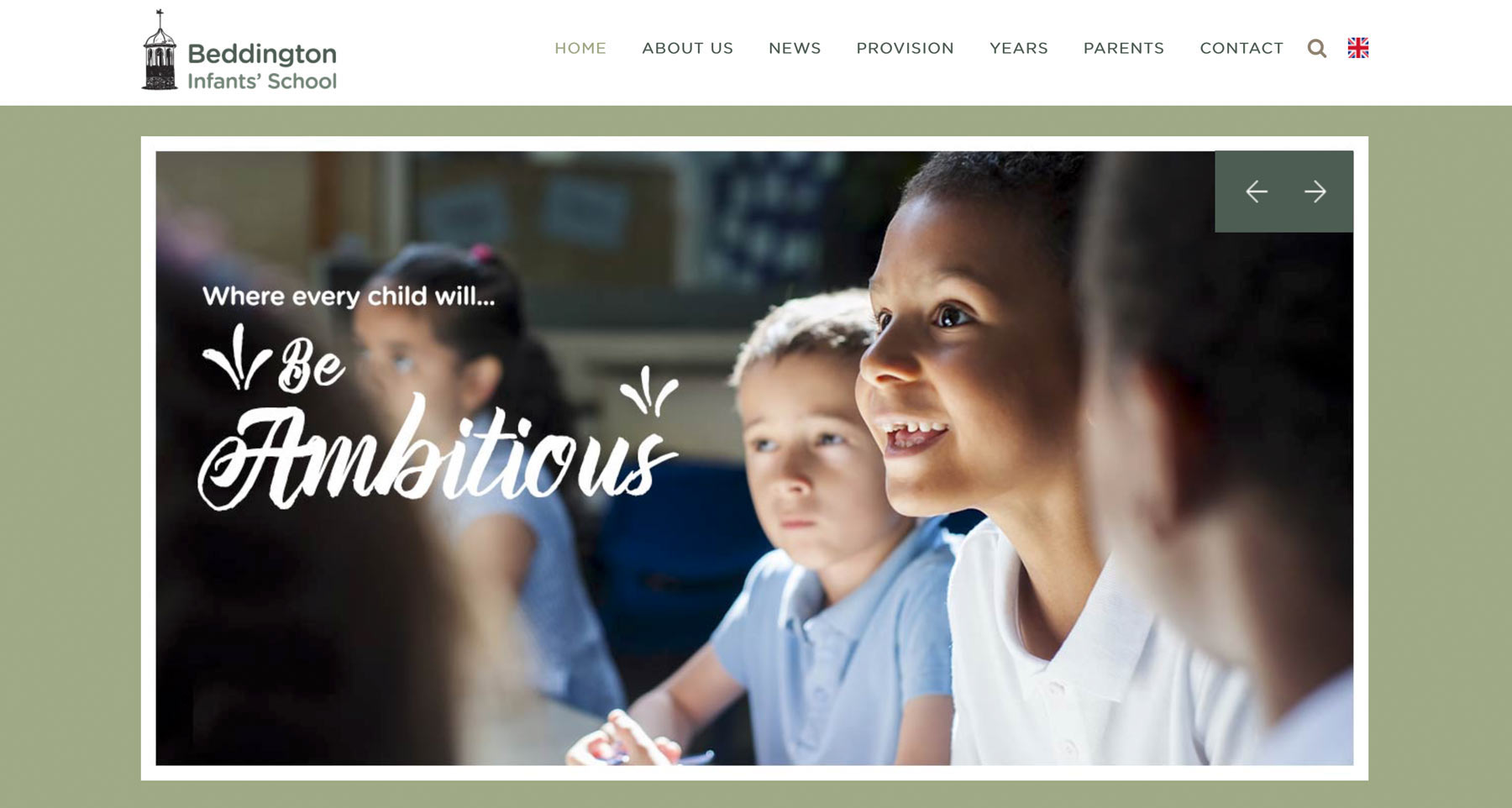 Primary school website photography homepage screenshot