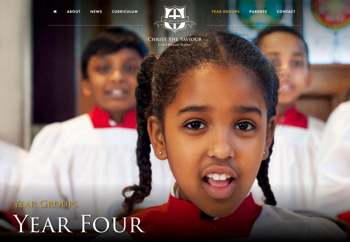 Screenshot of primary school website