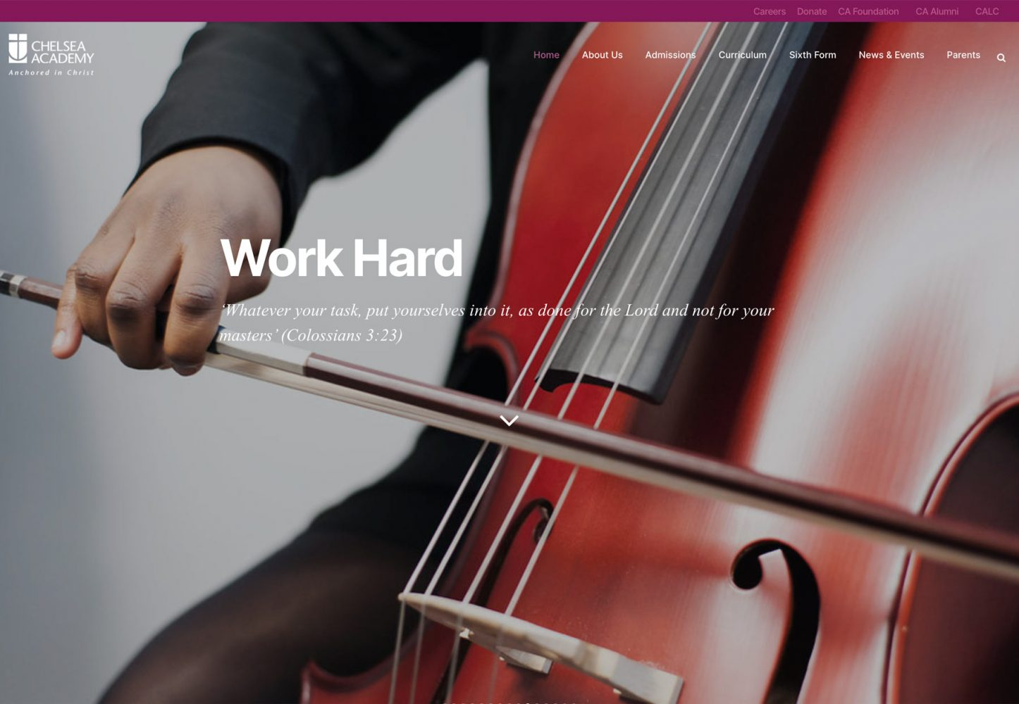 Secondary school website photograph student playing double bass