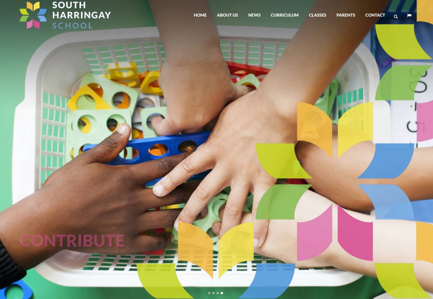 Primary school website photograph pupils hands