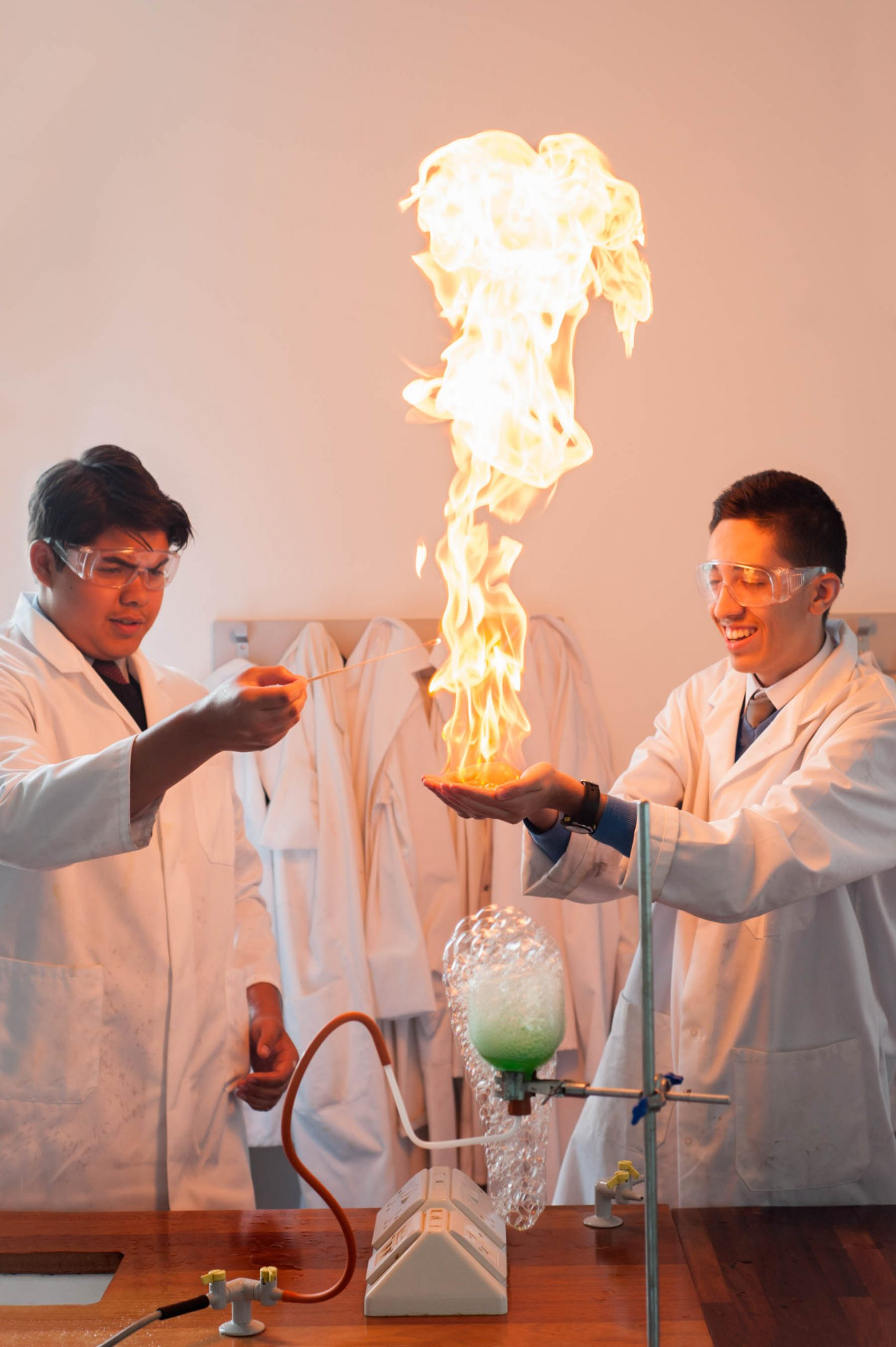 Academy school website photography of methane bubbles on fire