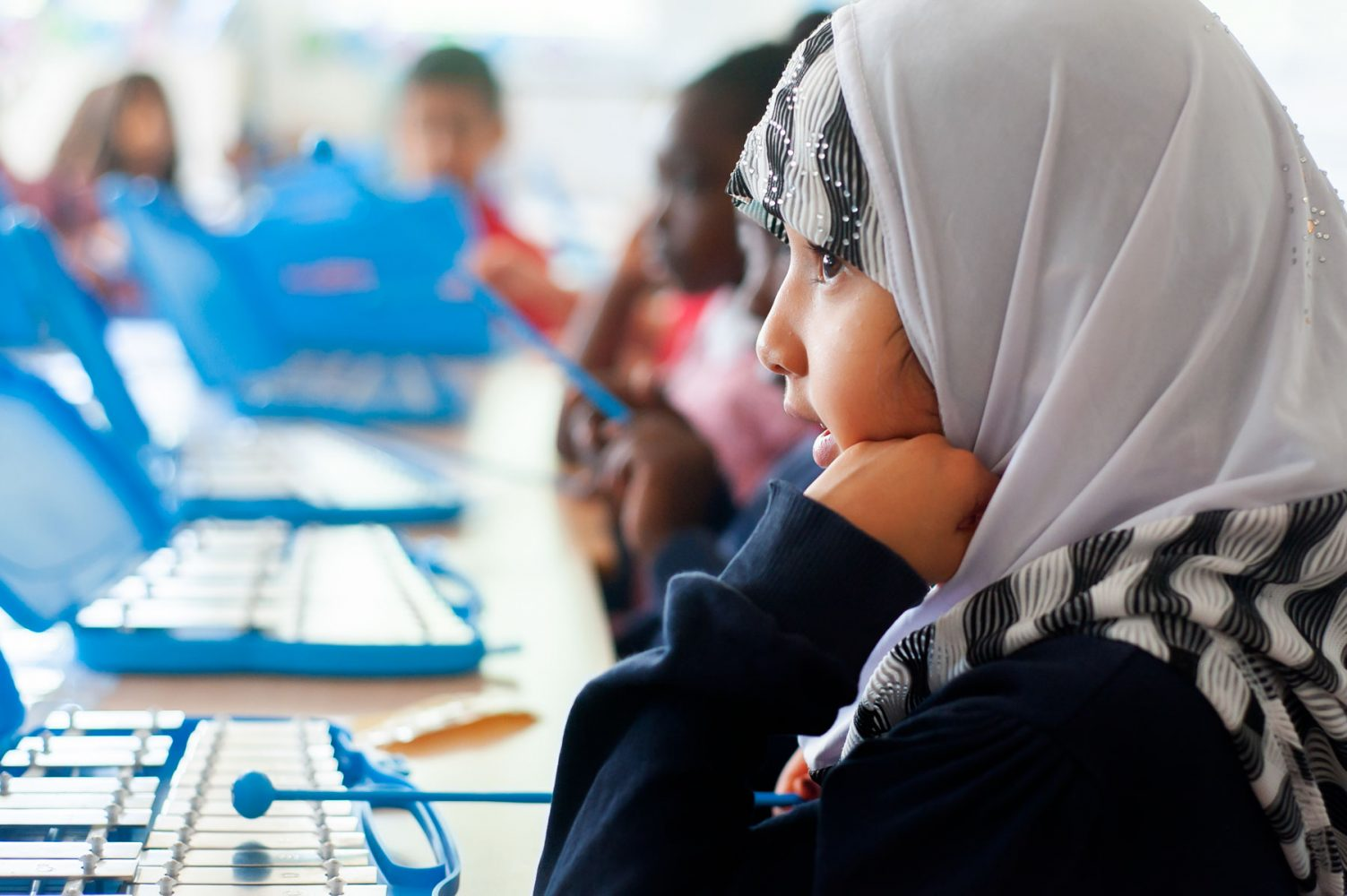 School pupil playing glockenspiel