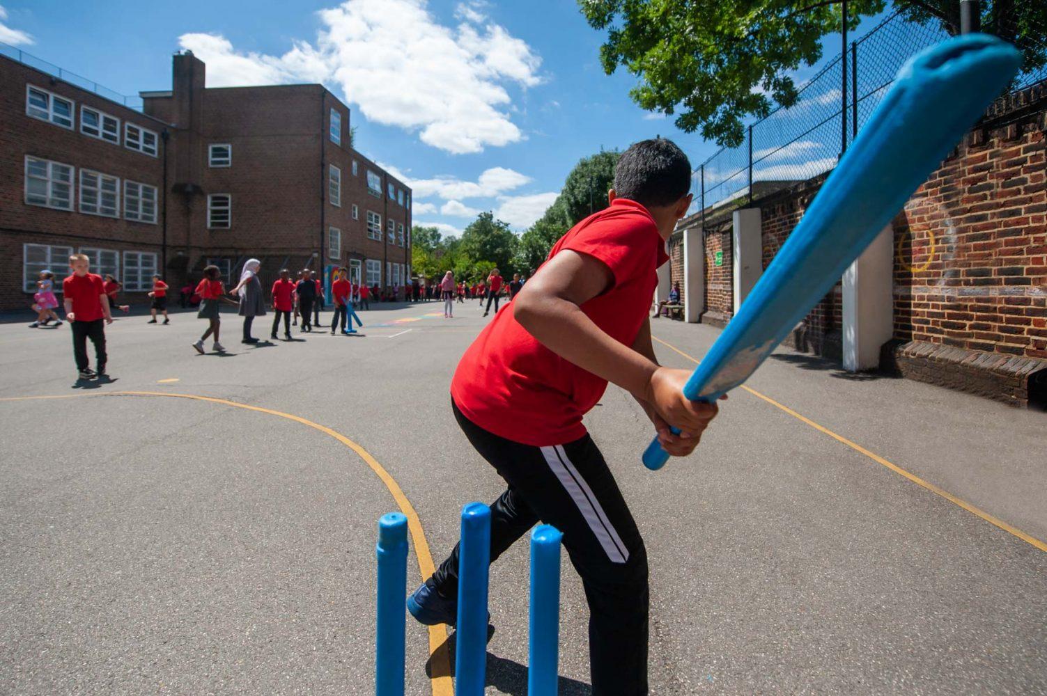 Cricket in school playground