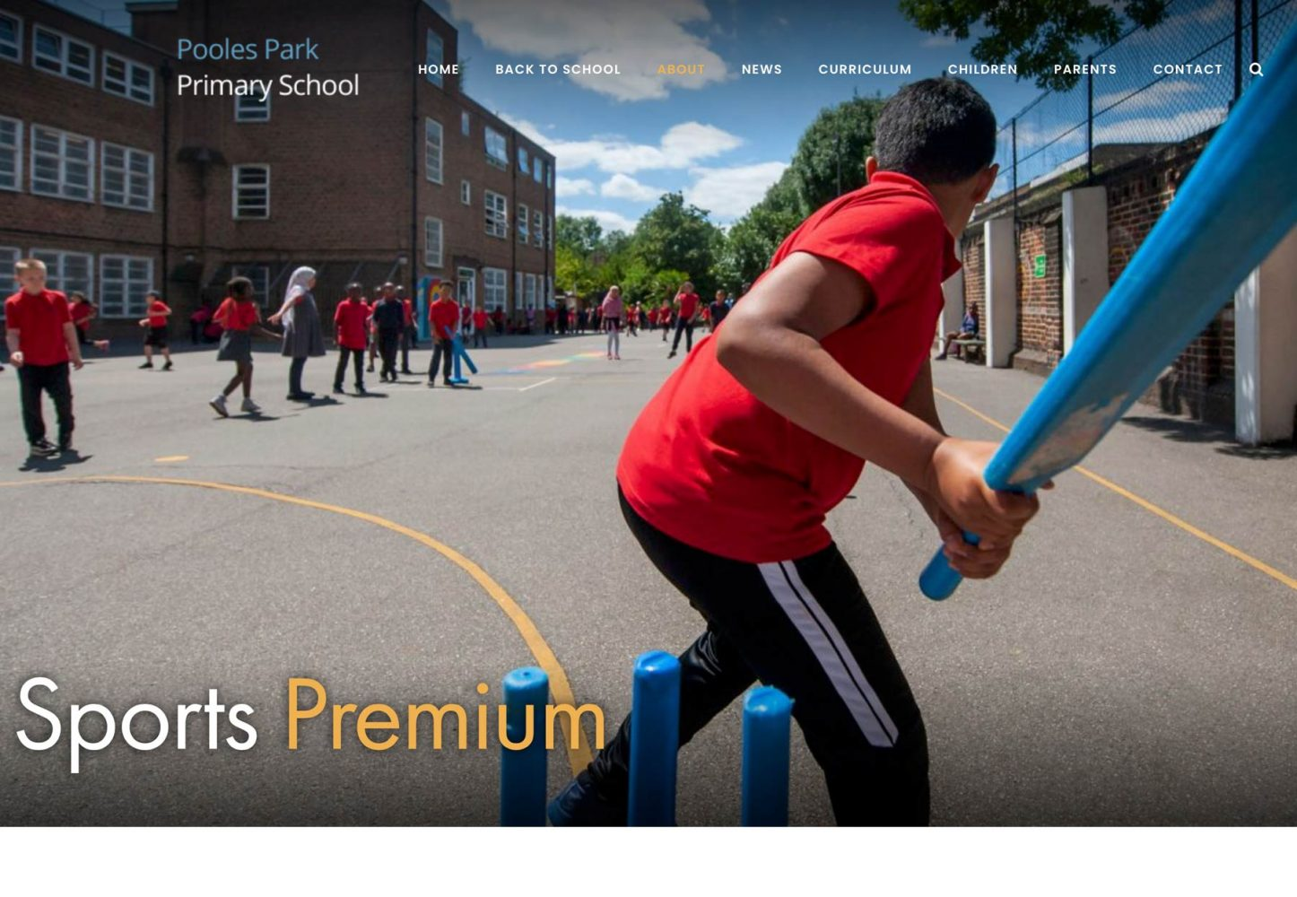 Islington School website photography screenshot of Sports Premium page.