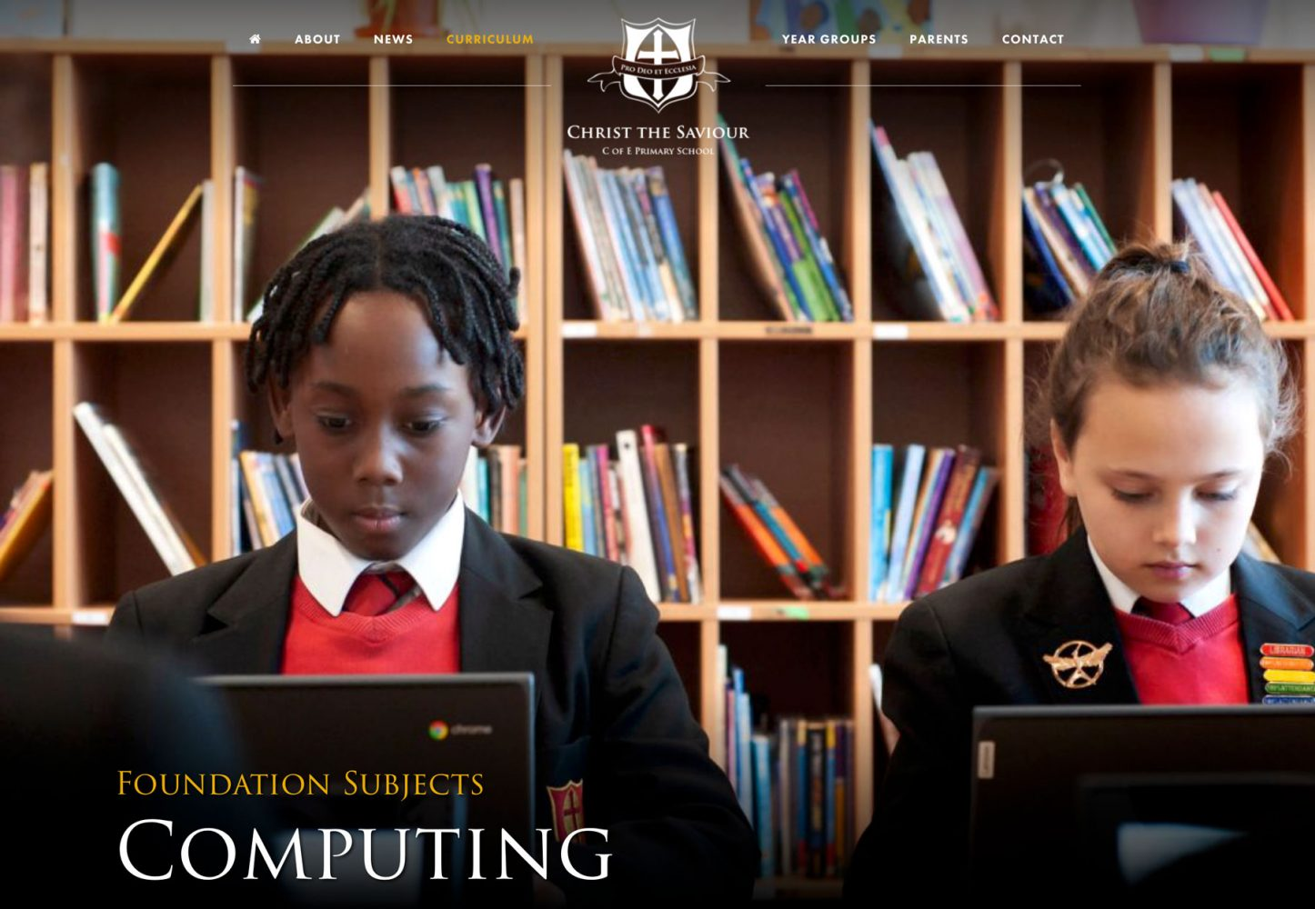 Screenshot of computing page of Christ The Saviour school website