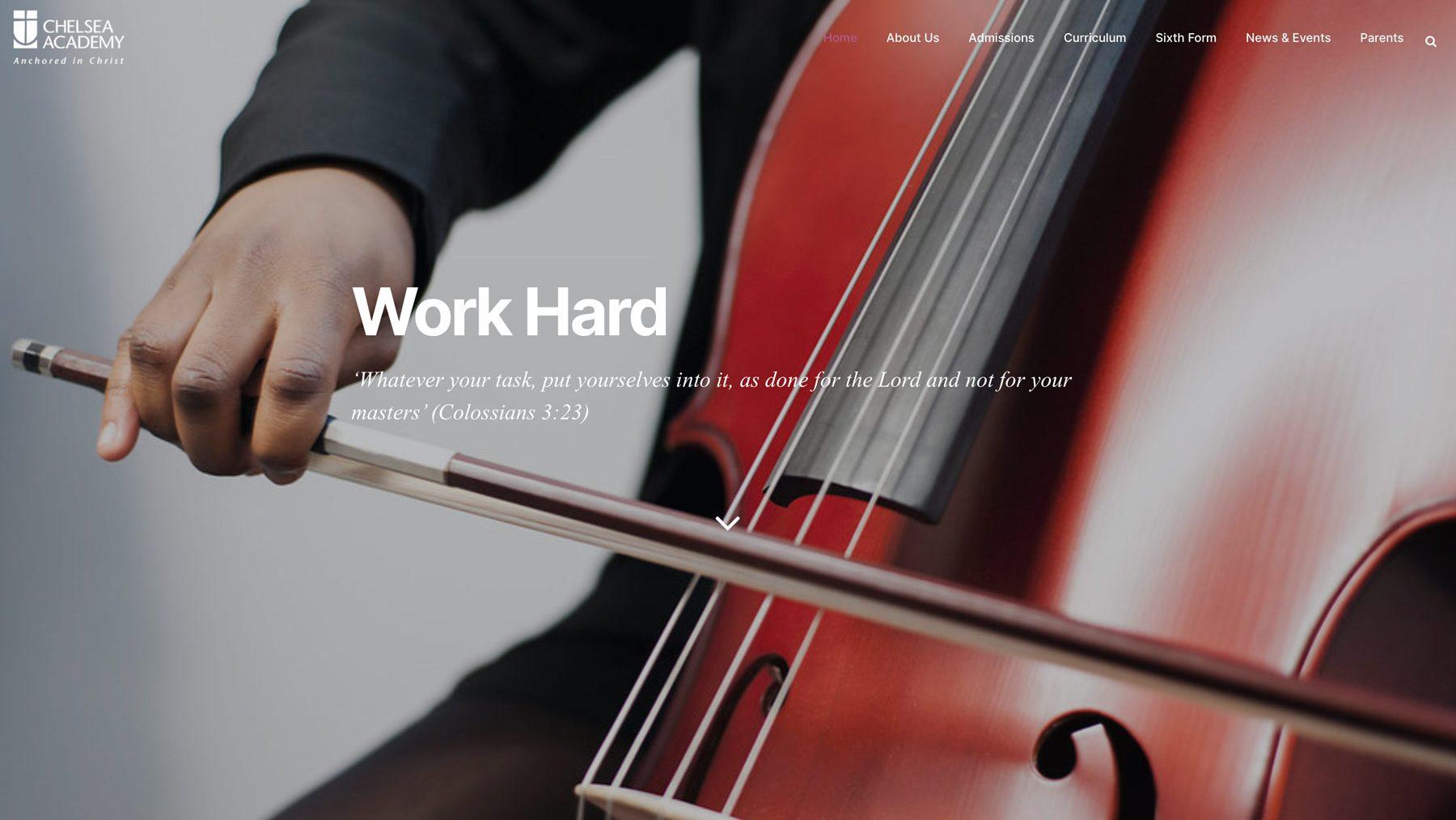 Academy school website photography screenshot of Chelasea Academy homepage