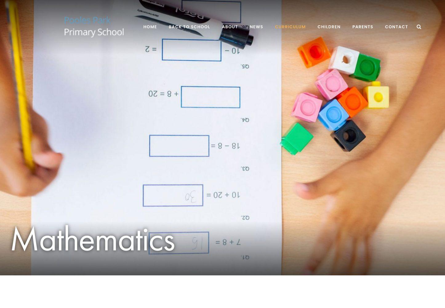Islington School website photography mathematics screenshot