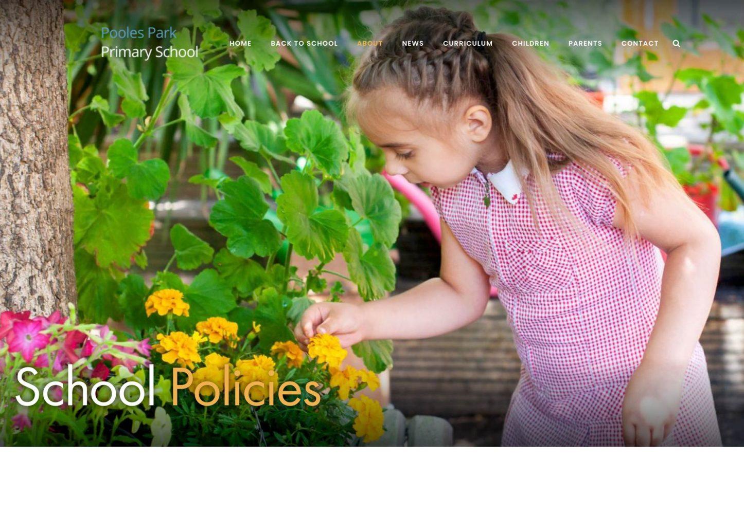 Islington School website photography School Policies screenshot